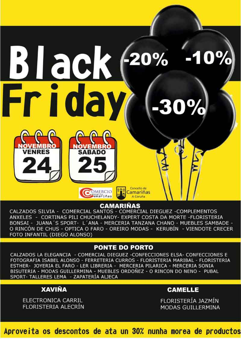 Cartel do Black Friday en Camariñas